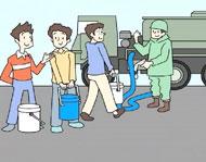 水を汲み、運ぶなど飲料水の確保に